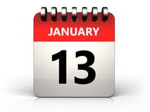 3d 13 january calendar. 3d illustration of 13 january calendar over white background Stock Photography