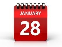 3d 28 january calendar. 3d illustration of january 28 calendar over white background Royalty Free Stock Image
