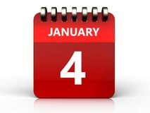 3d 4 january calendar. 3d illustration of january 4 calendar over white background Royalty Free Stock Photos