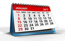 3d january 2017 calendar. 3d illustration of 2017 january calendar Royalty Free Stock Photos