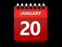 3d 20 january calendar. 3d illustration of january 20 calendar over black background Stock Image