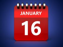 3d 16 january calendar. 3d illustration of january 16 calendar over blue background Royalty Free Stock Photos