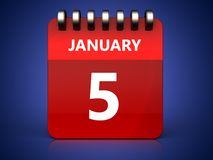 3d 5 january calendar. 3d illustration of january 5 calendar over blue background Stock Photography