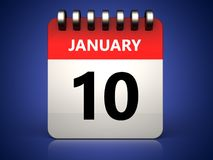 3d 10 january calendar. 3d illustration of 10 january calendar over blue background Stock Photo