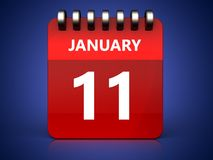 3d 11 january calendar. 3d illustration of january 11 calendar over blue background Stock Image