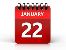3d 22 january calendar. 3d illustration of january 22 calendar over white background Royalty Free Stock Images