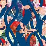 3d Japonia falowy pionowo dźwigowy bezszwowy wzór Ilustracji
