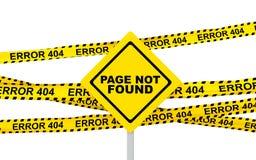 3d jaunissent les rubans de l'erreur 404 et le panneau de signe Image libre de droits
