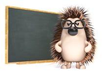 3d jeż uczy przy blackboard Zdjęcie Stock