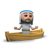 3d Jesus on a boat. 3d render of Jesus in a small fishing boat Royalty Free Stock Images