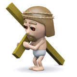3d Jesus carries the cross Stock Photo