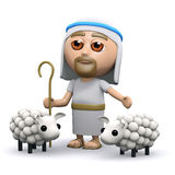 3d Jesus the shepherd. 3d render of Jesus with his flock of sheep Royalty Free Stock Image