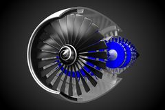 3D jet engine Royalty Free Stock Photo