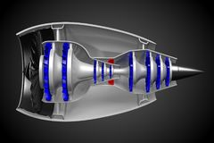 3D jet engine - side view Stock Images