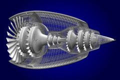 3D jet engine - side, back view Royalty Free Stock Images