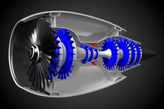 3D jet engine - front, side view Royalty Free Stock Photography