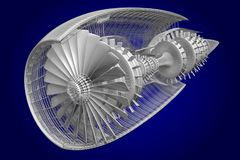 3D jet engine - front, side view Stock Photography