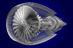 3D jet engine - front, side view Stock Images