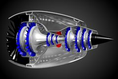 3D jet engine - side, back view Royalty Free Stock Photos