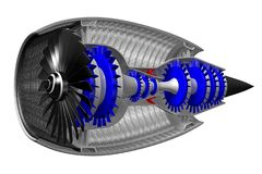 3D jet engine - side view. 3D jet engine on white background - inside - side and front view. Great for topics like engineering, aviation, technology etc stock illustration