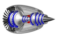 3D jet engine - side, back view Stock Photo