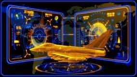 3D Jet Fighter azul amarilla HUD Interface Motion Graphic Element ilustración del vector