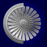 3D jetmotor - främre sikt Royaltyfria Foton