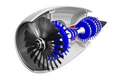 3D jetmotor - framdel, sidosikt Royaltyfria Bilder