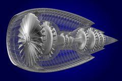 3D jetmotor - framdel, sidosikt Fotografering för Bildbyråer