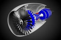 3D jetmotor - framdel, sidosikt Arkivbilder