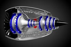 3D jetmotor - sida, baksidasikt Royaltyfria Foton