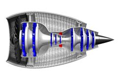 3D jetmotor - sidosikt Royaltyfri Bild