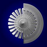 3D jetmotor - tillbaka sikt Royaltyfri Fotografi