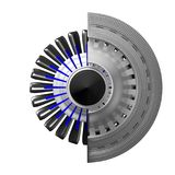 3D jetmotor - tillbaka sikt Royaltyfria Bilder