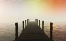 3D jetty over sea Stock Photography