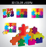3d jigsaw with many colors. For design stock illustration