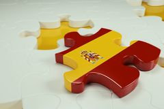 3d Jigsaw Puzzle On White Puzzles. With Depth Of Field Stock Images