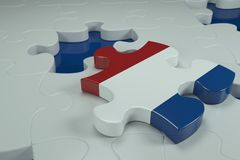 3d Jigsaw Puzzle On White Puzzles. With Depth Of Field Stock Photo