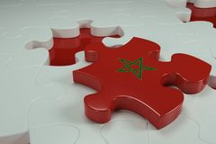 3d Jigsaw Puzzle On White Puzzles. With Depth Of Field Royalty Free Stock Photography
