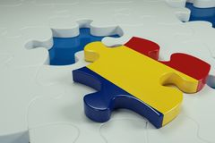 3d Jigsaw Puzzle On White Puzzles. With Depth Of Field Royalty Free Stock Image
