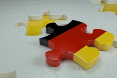 3d Jigsaw Puzzle On White Puzzles. With Depth Of Field Royalty Free Stock Images