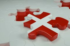 3d Jigsaw Puzzle On White Puzzles. With Depth Of Field Stock Photography