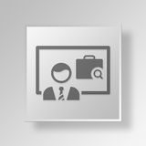 3D Job Presentation Button Icon Concept Arkivbilder