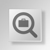 3D Job Search Button Icon Concept Fotografering för Bildbyråer