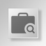 3D Job Search Button Icon Concept Royaltyfri Fotografi