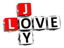 3D Joy Love Crossword Stockfotos