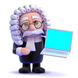 3d Judge and laptop Stock Photography