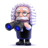 3d Judge with a pair of binoculars. 3d render of a judge holding binoculars Royalty Free Stock Image