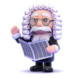 3d Judge reads the news Royalty Free Stock Photos