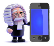 3d Judge and smartphone Stock Photography